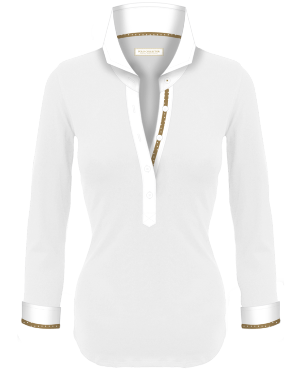 Polo Blanc Femmes Manches Longues Polo Collector