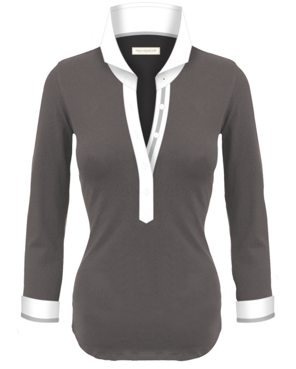 Polo Gris Femmes Manches Longues Polo Collector